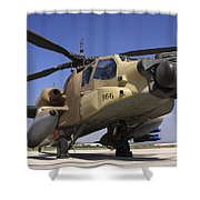 An Ah-64a Peten Attack Helicopter Shower Curtain