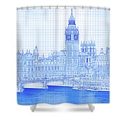 Arch Bridge Across A River, Westminster Shower Curtain