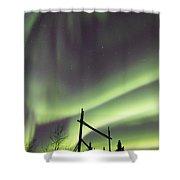 Aurora Borealis Over A Ranch Shower Curtain