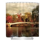 Autumn At Bow Bridge Shower Curtain