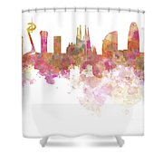 Barcelona Skyline In Watercolour On White Background Shower Curtain