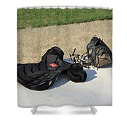 Baseball Glove And Chest Protector Shower Curtain