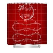 Baseball Patent 1927 - Red Shower Curtain