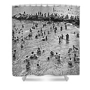 Bathers At Coney Island Shower Curtain