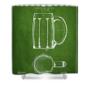 Beer Mug Patent From 1876 - Green Shower Curtain