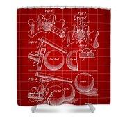 Billiard Bridge Patent 1910 - Red Shower Curtain