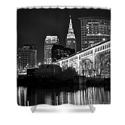 Black And White Cleveland Iconic Scene Shower Curtain