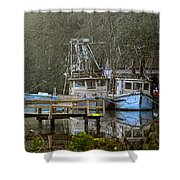 3 Blue Boats Shower Curtain
