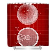 Bowling Ball Patent 1894 - Red Shower Curtain