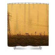 California Oil Field Under Amber Sky Shower Curtain
