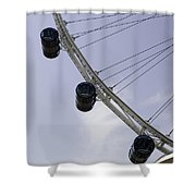 3 Capsules Of The Singapore Flyer Along With The Spokes And Base Shower Curtain