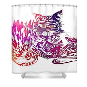 3 Cats Purple Shower Curtain