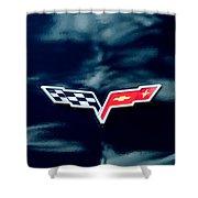 Chevrolet Corvette Emblem Shower Curtain