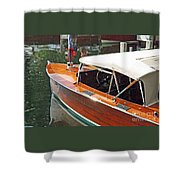 Chris Craft Runabout On Geneva Shower Curtain