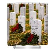 Christmas Wreaths Laid At The Arlington Cemetery Shower Curtain