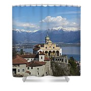 Church Madonna Del Sasso Shower Curtain