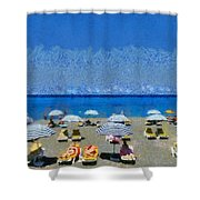Beach At The City Of Rhodes Shower Curtain