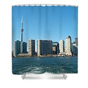 Cn Tower Toronto View From Centre Island Downtown Panorama Improvised With Graphic Artist Tools Pain Shower Curtain