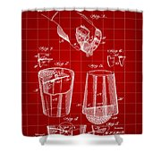 Cocktail Mixer And Strainer Patent 1902 - Red Shower Curtain