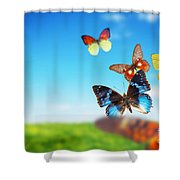 Colorful Buttefly Spring Field Shower Curtain