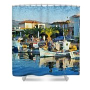 Colorful Port Shower Curtain