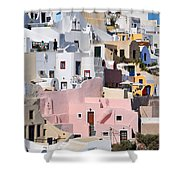 Colorful Oia Shower Curtain