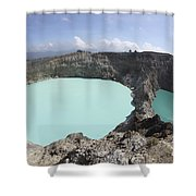 Colourful Crater Lakes Of Kelimutu Shower Curtain by Richard Roscoe