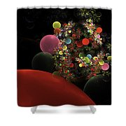 Computer Generated Spheres Abstract Fractal Flame Shower Curtain
