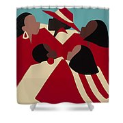 Crimson And Cream Shower Curtain