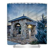 Cultured Stone Terrace Trellis Details Near Park In A City  Shower Curtain