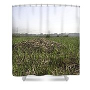 Cut And Dried Grass Along With Growing Grass Shower Curtain