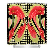 Dancing Tulip Red Exotic Flower Petal Based Wave Pattern  Created By Navinjoshi Reiki Healing Master Shower Curtain
