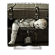 Doll In Suitcase Shower Curtain