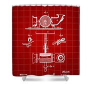 Edison Phonograph Patent 1878 - Red Shower Curtain