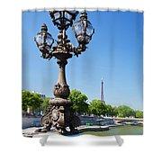 Eiffel Tower And Bridge On Seine River In Paris Shower Curtain