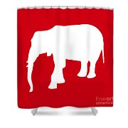 Elephant In Red And White Shower Curtain