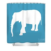 Elephant In White And Turquoise Shower Curtain