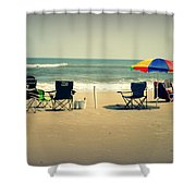 3 Empty Beach Chairs Shower Curtain