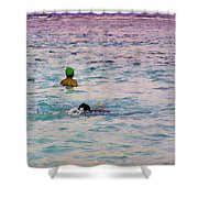 Enjoying The Water In The Coral Reef Lagoon Shower Curtain