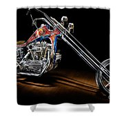 Evel Knievel Harley-davidson Chopper Shower Curtain