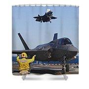 F-35b Lighnting II Variants Land Aboard Shower Curtain