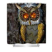 Faux Owl With Golden Eyes Shower Curtain