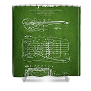 Fender Floating Tremolo Patent Drawing From 1961 - Green Shower Curtain by Aged Pixel