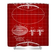 Football Patent 1902 - Red Shower Curtain