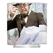 Frustrated Businessman Shower Curtain