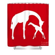 Giraffe In Red And White Shower Curtain