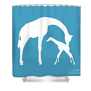 Giraffe In White And Turquoise Shower Curtain