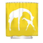 Giraffes In Golden And White Shower Curtain