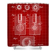 Golf Ball Patent 1902 - Red Shower Curtain