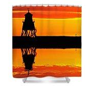 Groyne Lighthouse At Sunrise Shower Curtain